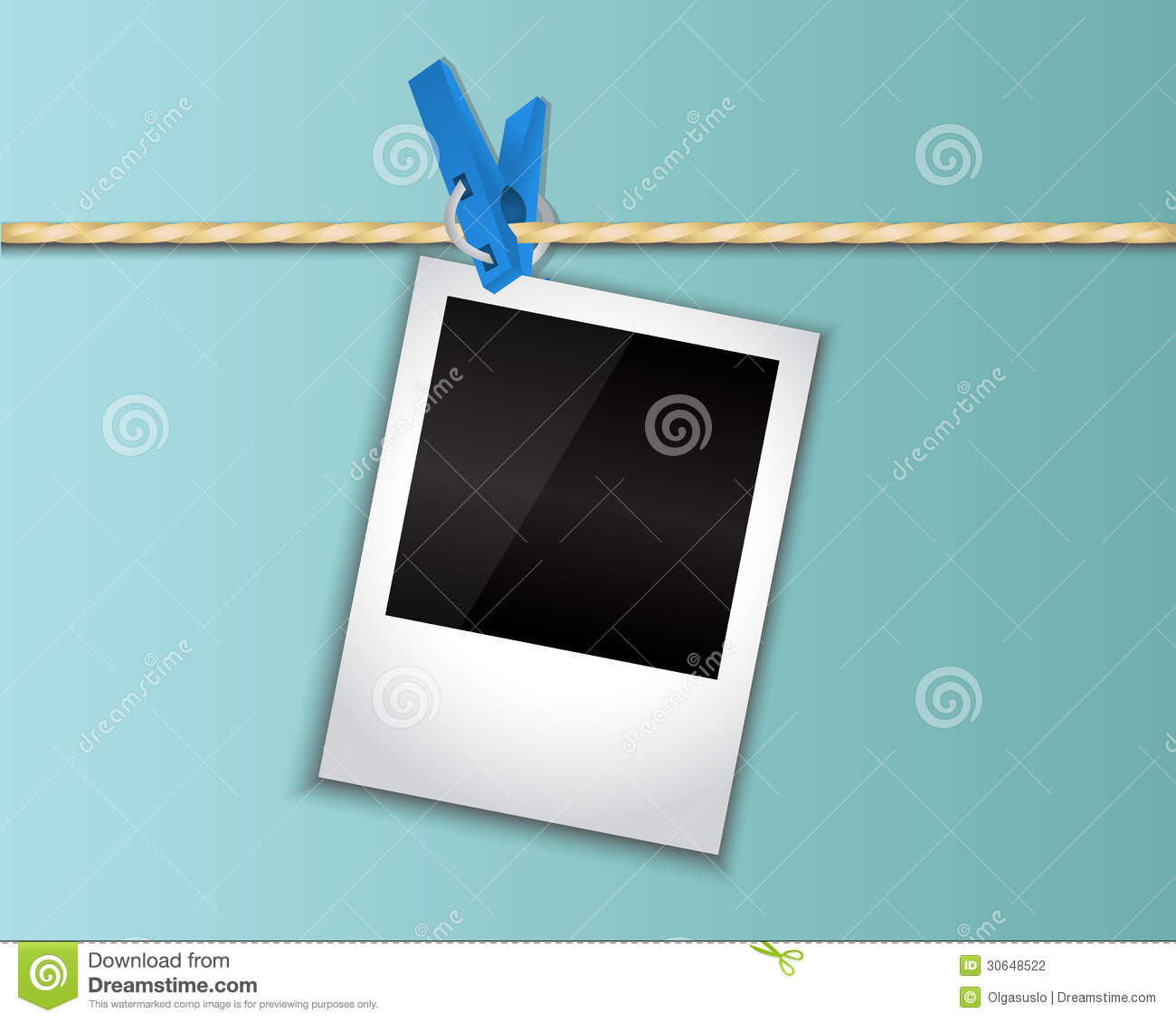 Photo Hanging On A Clothespin Stock Photography Image