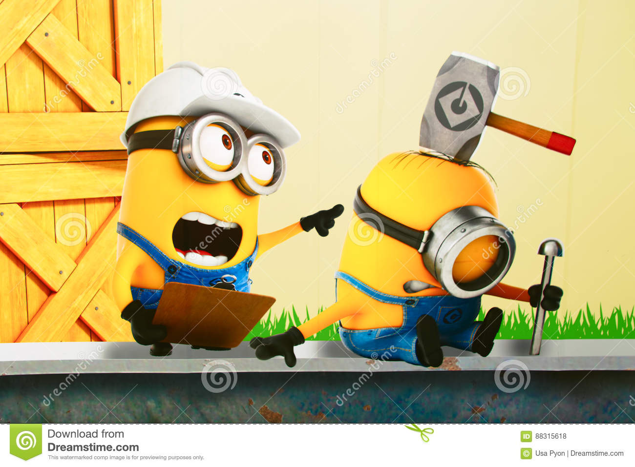 Photo Of `HAPPY MINION` Wall Art Editorial Stock Photo - Image of ...