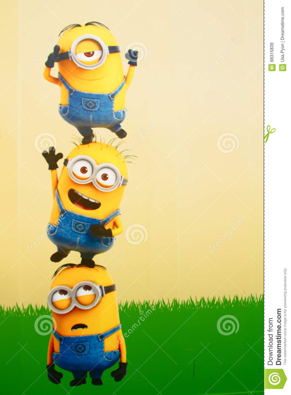 Photo Of `HAPPY MINION` Wall Art Editorial Stock Image - Image of ...