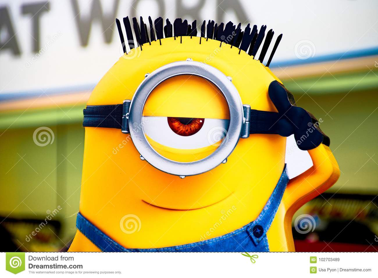 Photo Of `HAPPY MINION Wall Art` Editorial Stock Image - Image of ...