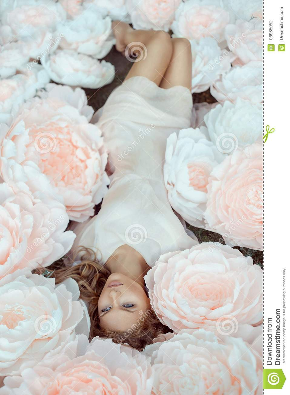 Beautiful Female Portrait With Big White Paper Flowers Stock Photo