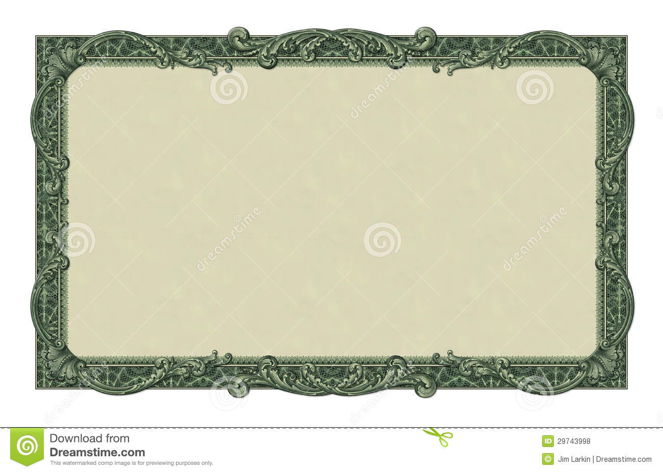 ... -illustration of a border/frame using elements from a dollar bill