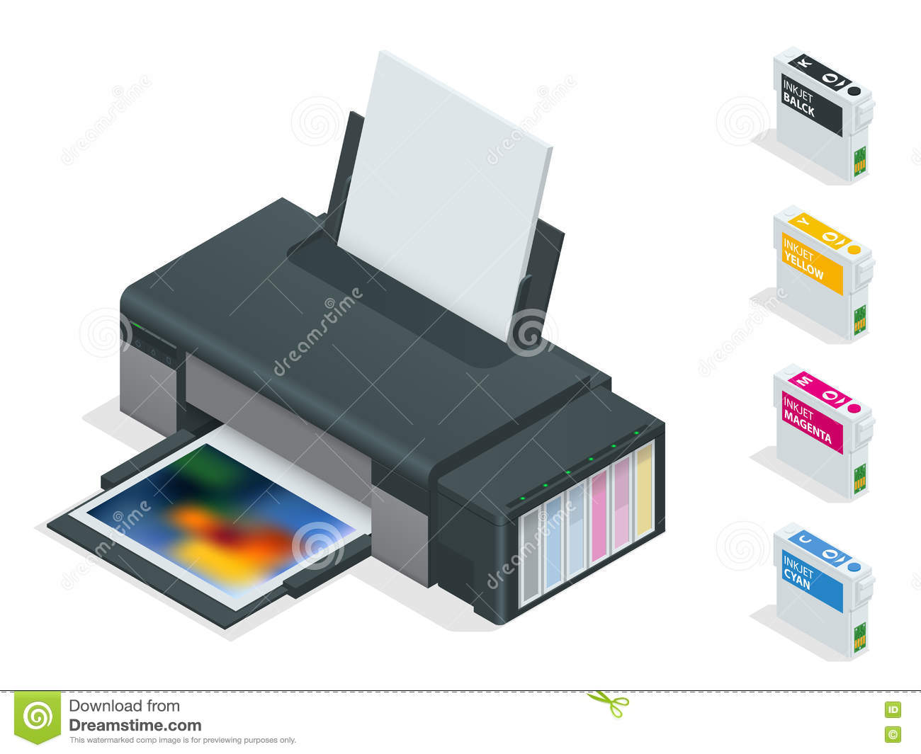 Photo inkjet printer. Color printer prints photo on white isolated background. Four empty refillable cartridges.