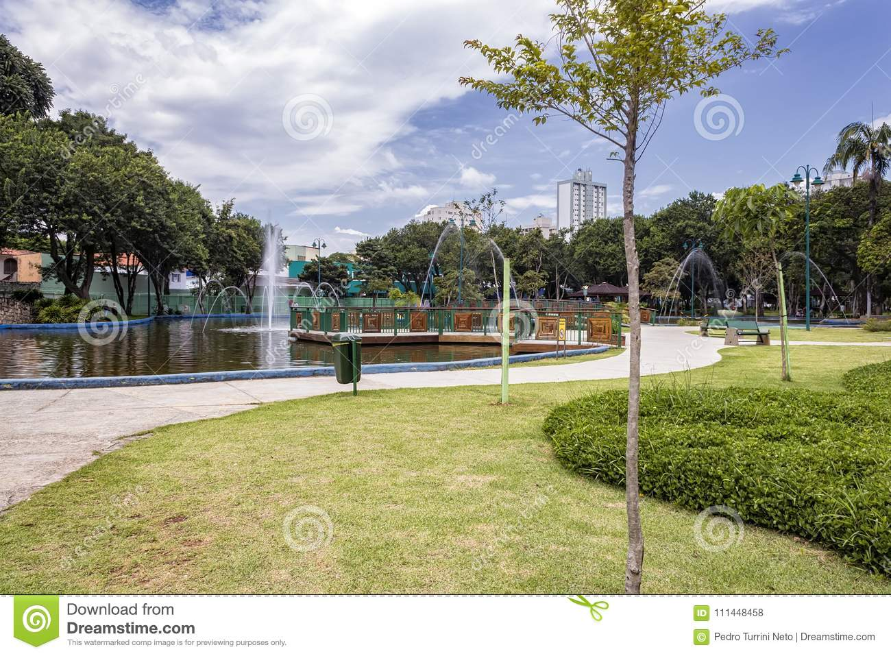 Lake with fountain in Park Santos Dumont, Sao Jose dos Campos, Brazil