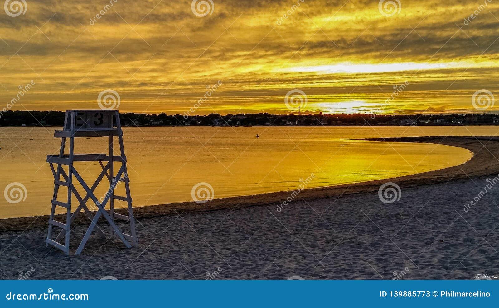Life guard chair at dusk