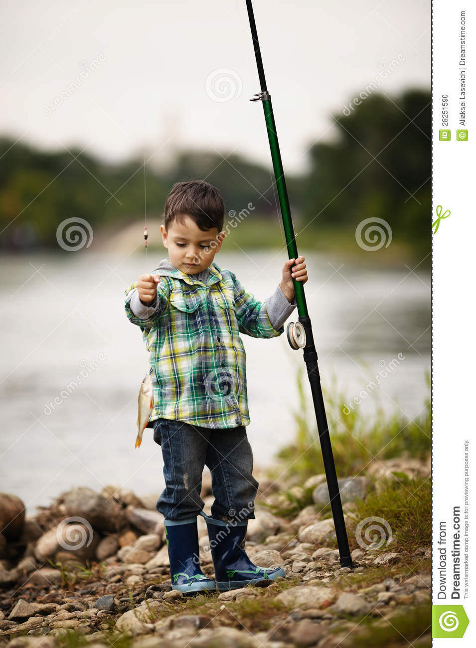 Photo of little boy fishing stock photo image 28251590 for Little boy fishing