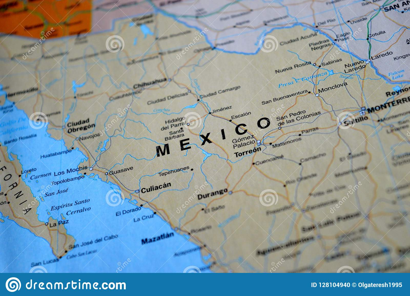 Obregon Mexico Map.A Photo Of Mexico On A Map Stock Photo Image Of Road 128104940