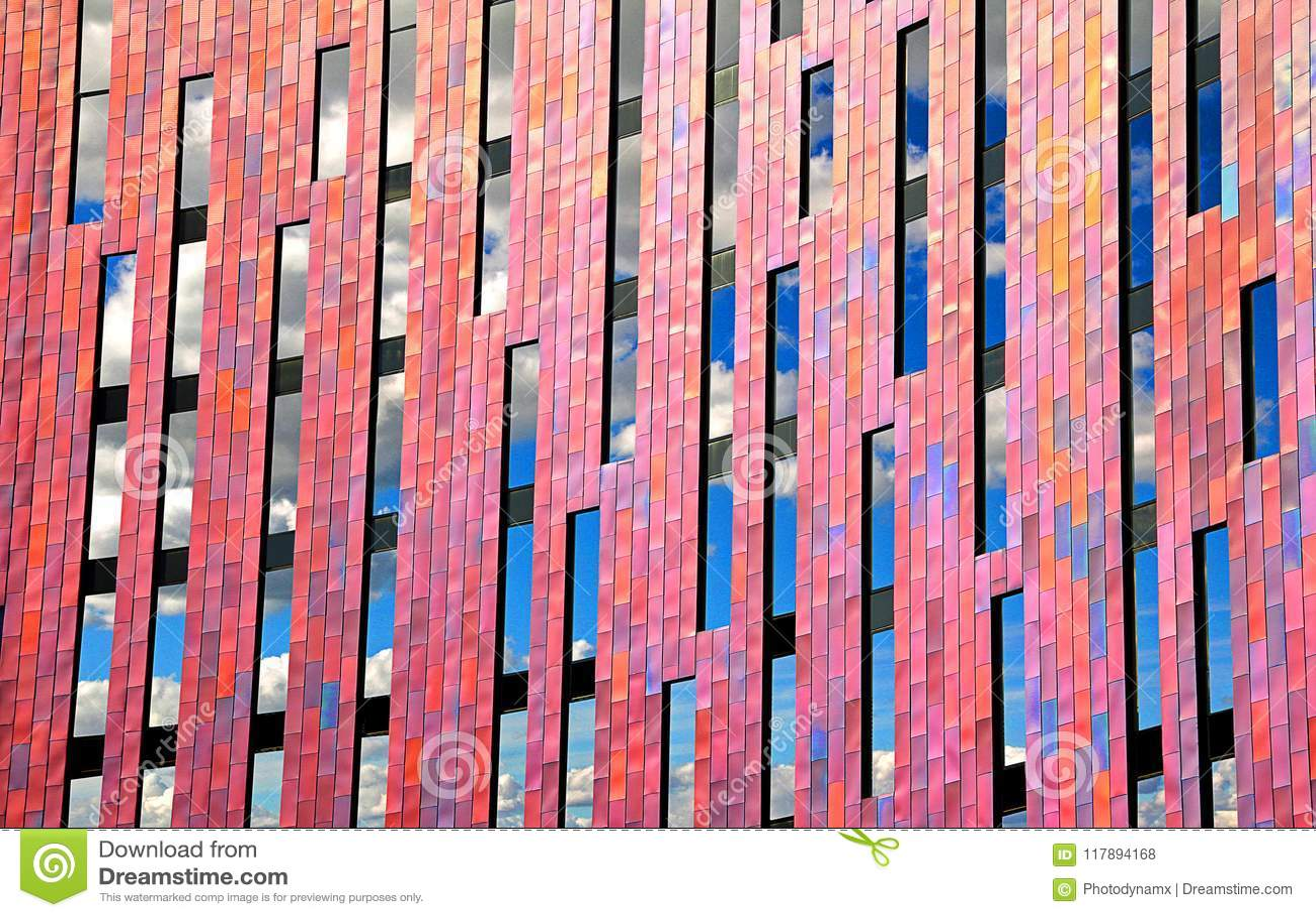 Modern office geometrical design clouds in windows