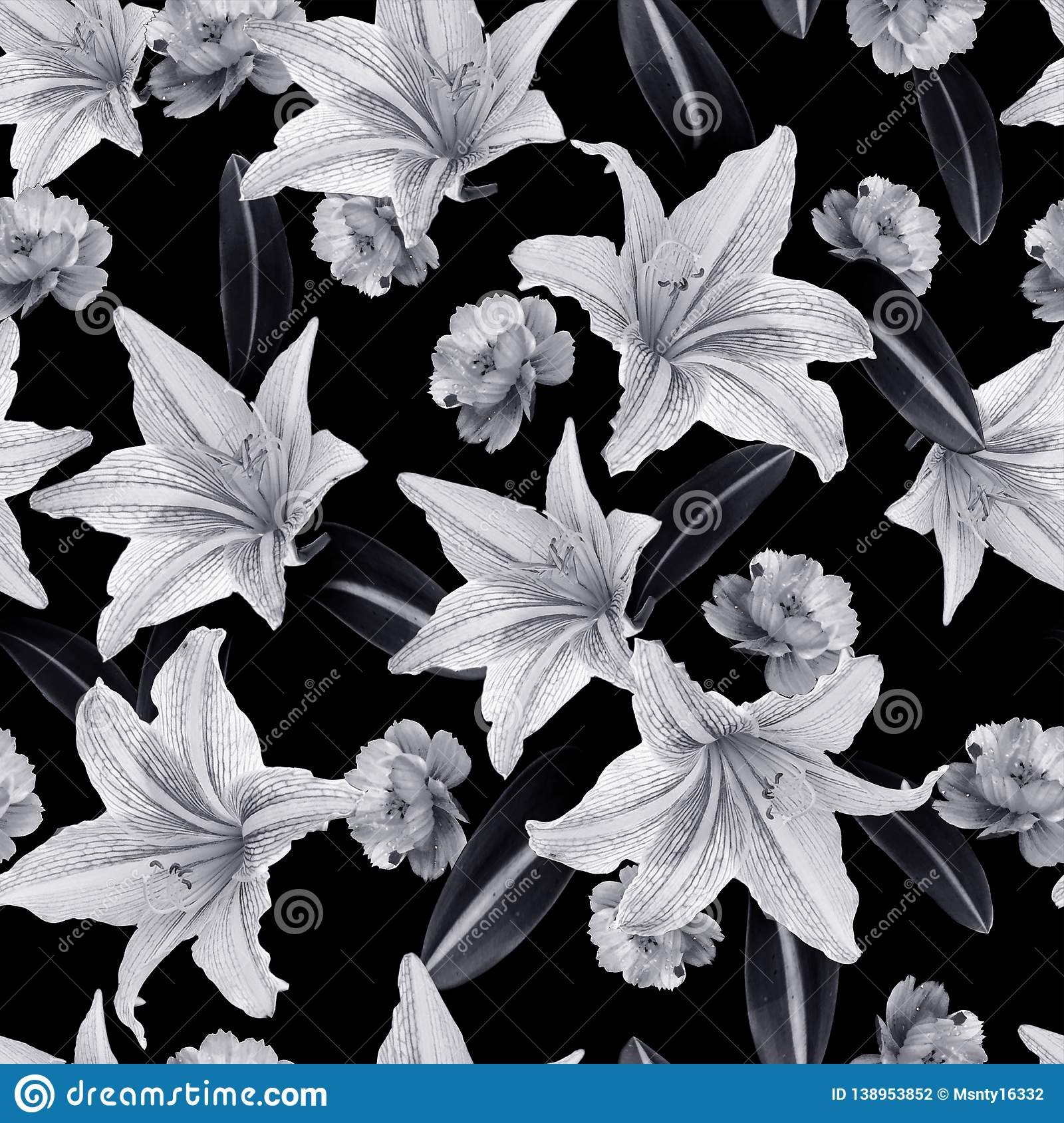 Photo monotone black and white seamless floral pattern of exotic