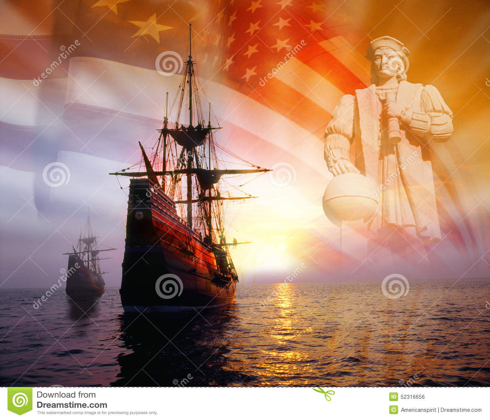 photo montage christopher columbus american flag sailing ships