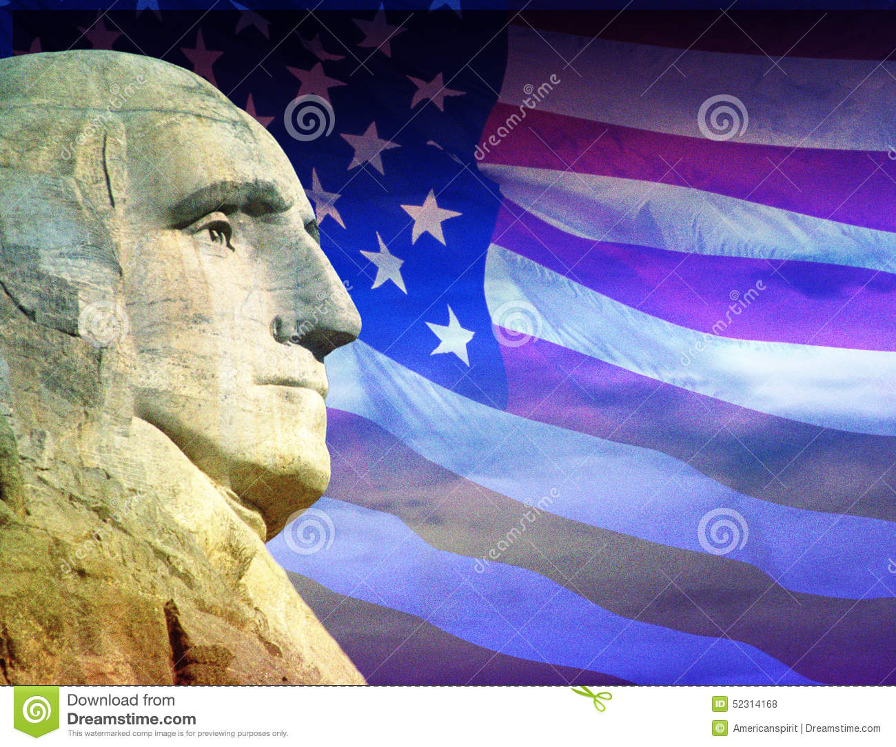 Photo montage: George Washington and American flag