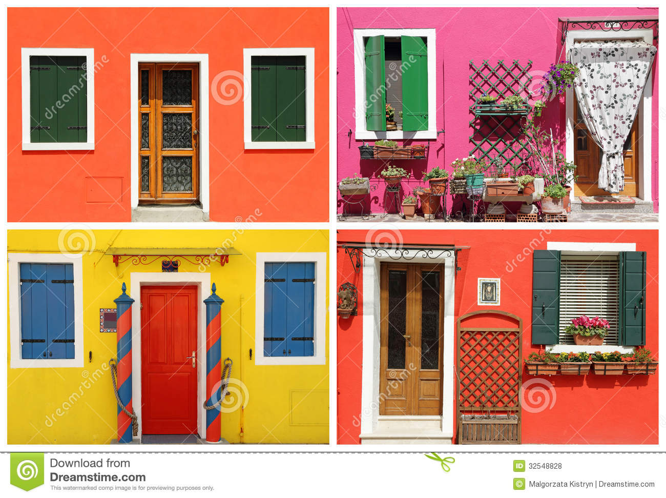 Photo montage with multicolor vivid painted houses in - Verniciare casa ...