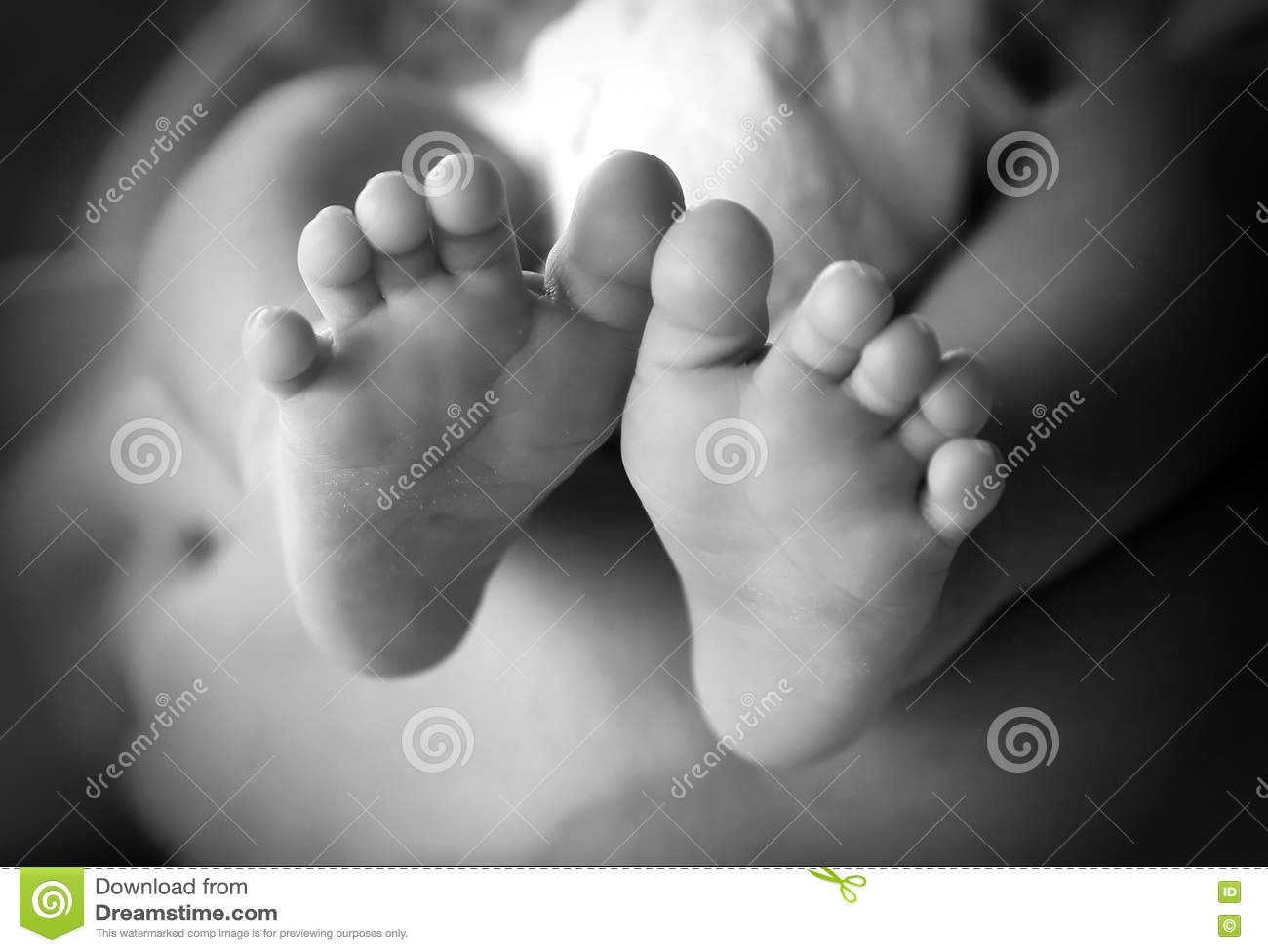 Photo of newborn baby feet in soft focus