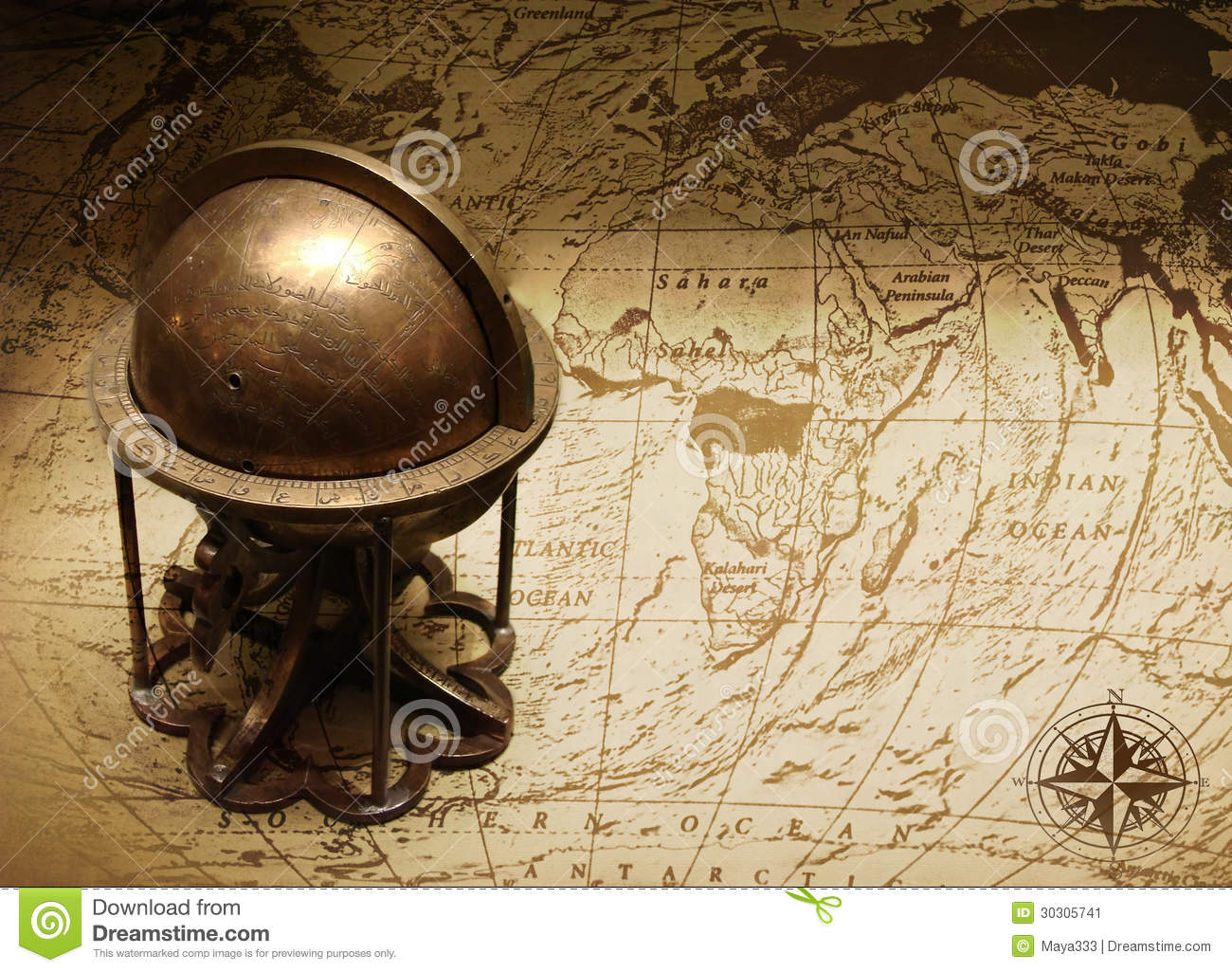Old Globe On Map Of The World Stock Image   Image of cartography