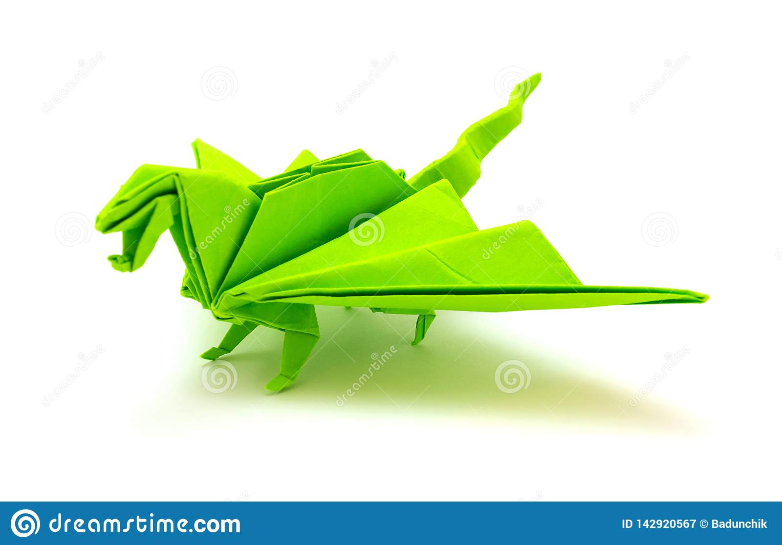 Abstract origami green dragon isolated on white Vector Image | 1116x1600