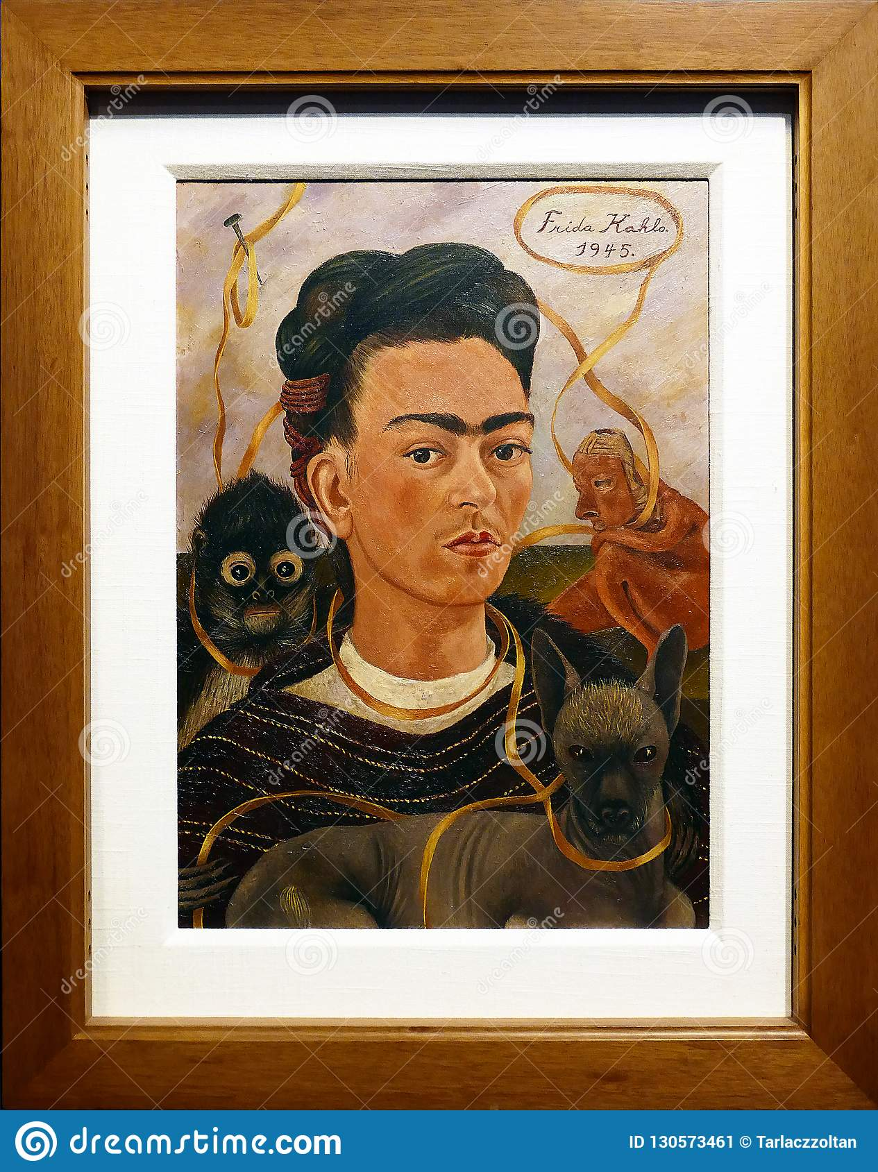 Frida Kahlo - Self Portrait with Monkey and Parrot, 1942