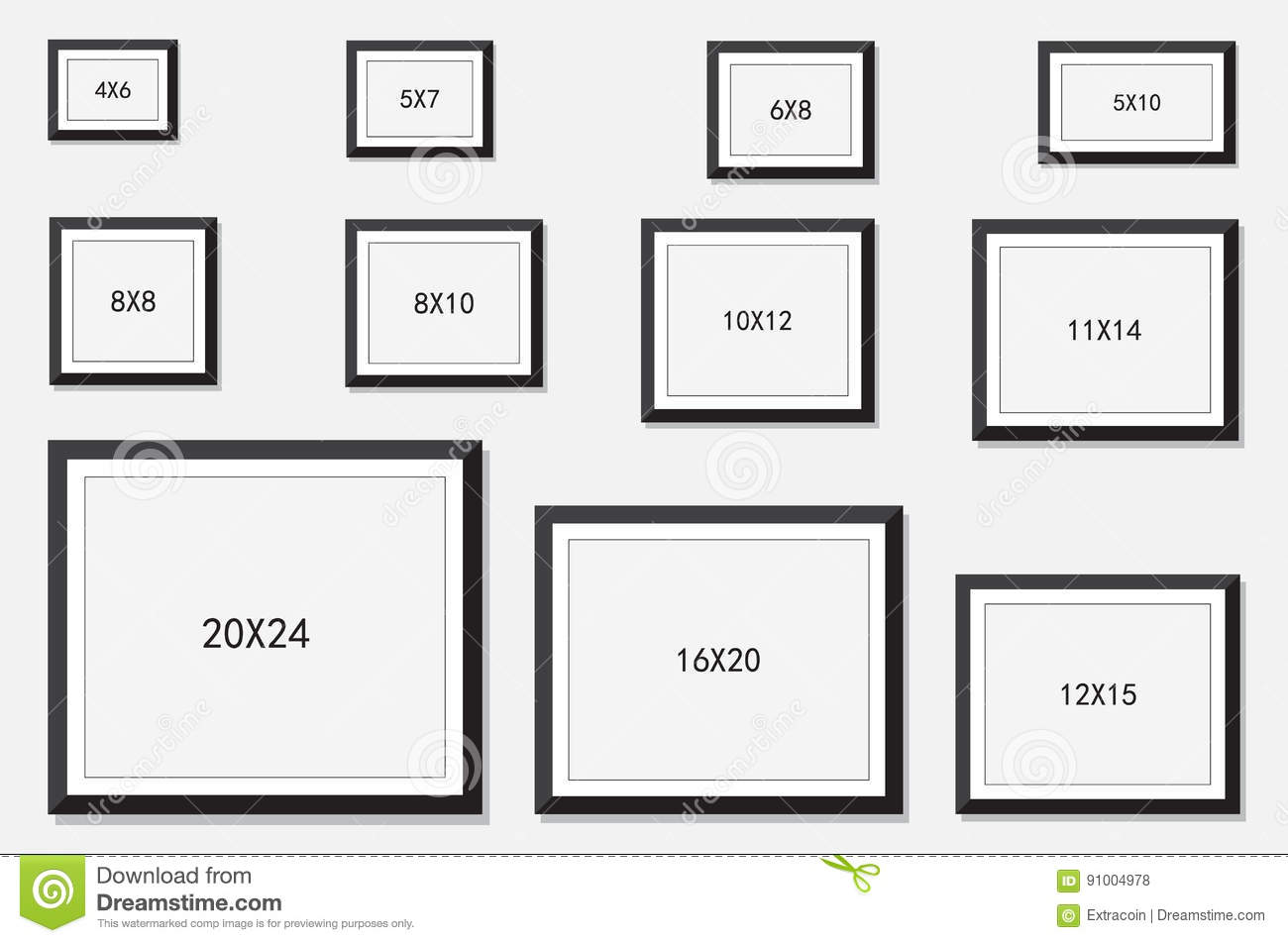 Photo And Picture Frame Size Stock Vector - Illustration of ...