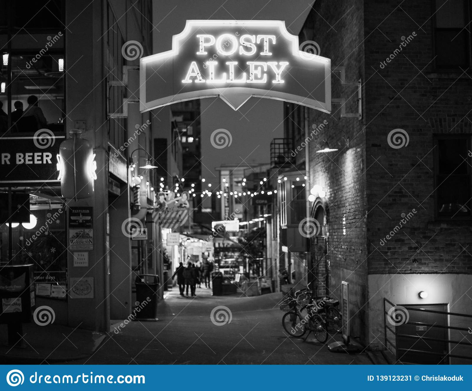 Post Alley in Seattle Black and White