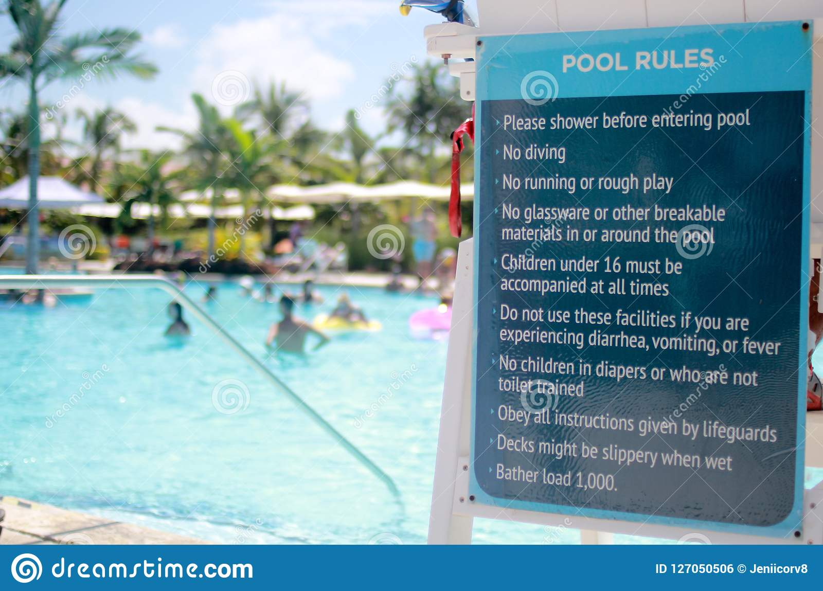 Pool Rules Signage stock photo. Image of relax, destination ...