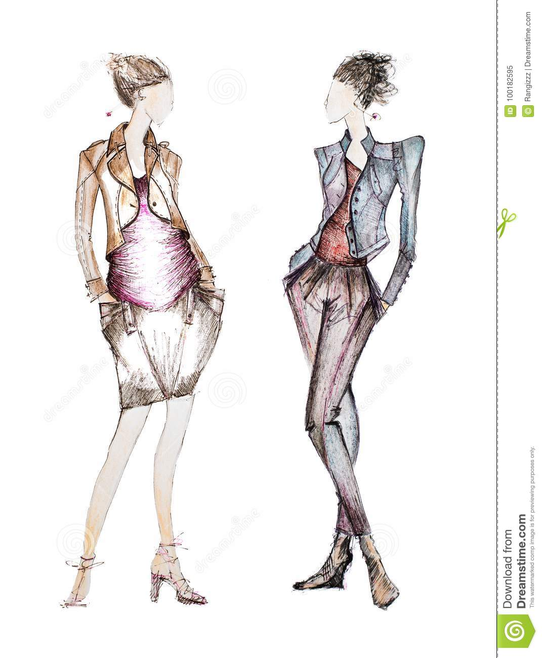 Designer Fashion sketches draw exclusive photo