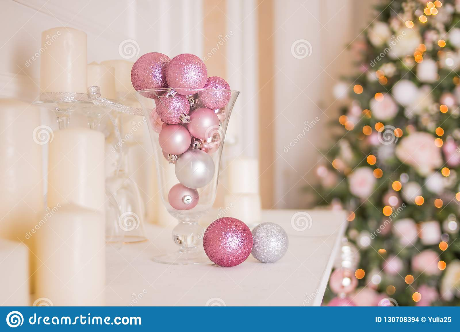 Photo Of Romantic Holiday Interior Design Traditional Christmas Tree White Candles Luxury Silver And Pink Balls As Stock Photo Image Of Advent Design 130708394