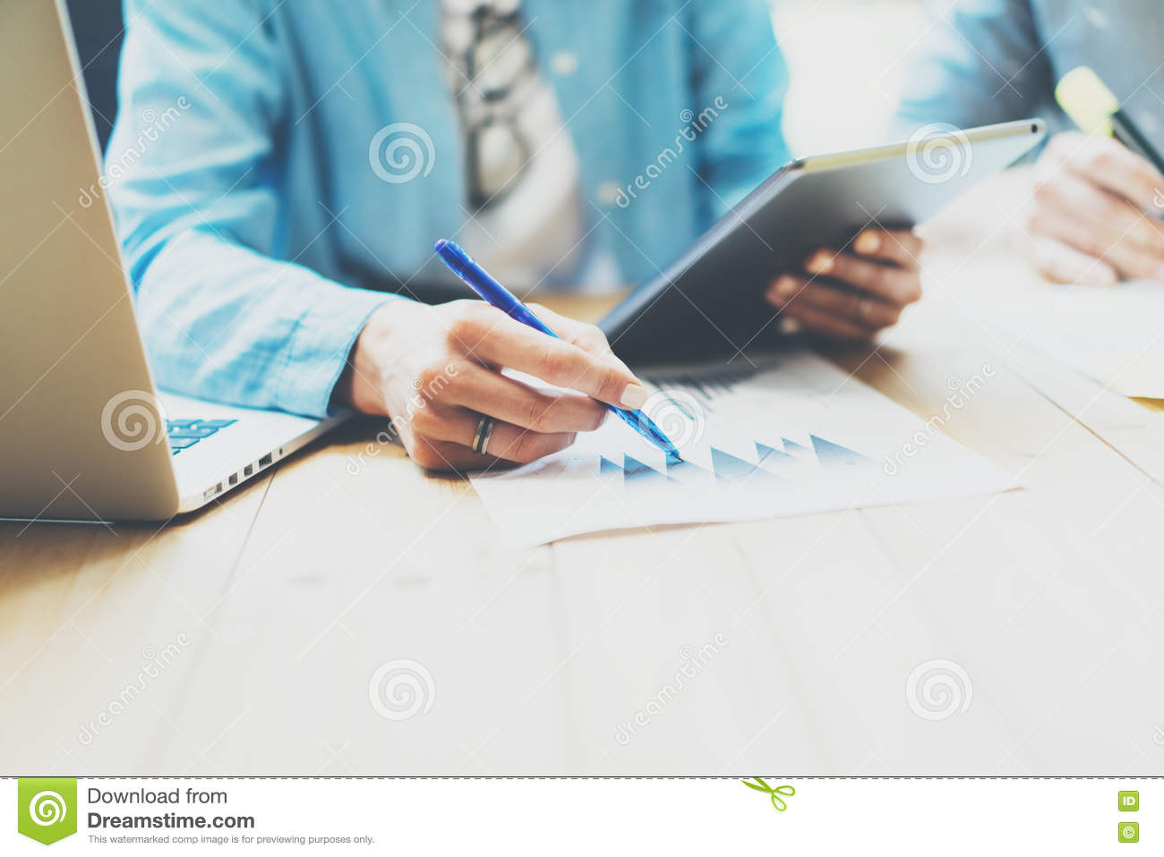 Photo Sales Manager Working Modern Office.Woman Use Generic Design Tablet,Holding Pencil Hand.Account Department Work