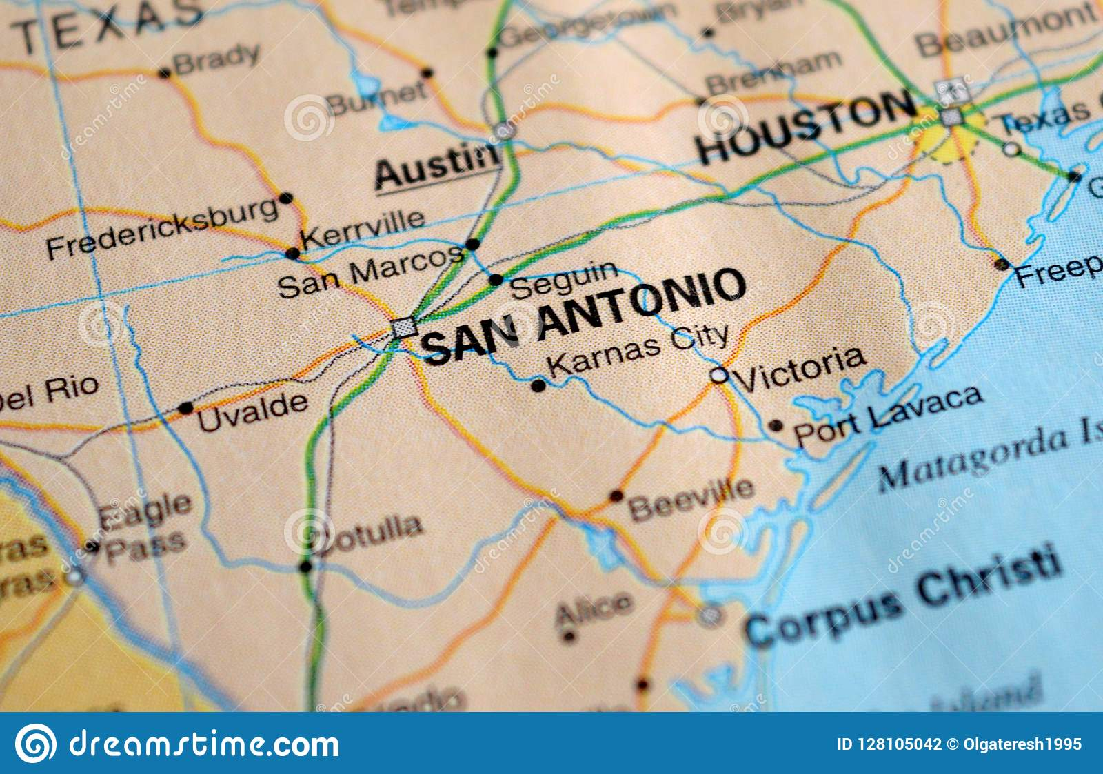 A Photo Of San Antonio On A Map Stock Photo - Image of ... on texas on map, webster on map, new orleans on map, corpus christi on map, commerce city on map, golden state on map, portland on us map, auburn hills on map, quad cities on map, plano on map, houston on map, la venta on map, south bend on map, white plains on map, bexar county on map, kansas city on map, leon county on map, palo pinto county on map, abilene on map, st john's on map,