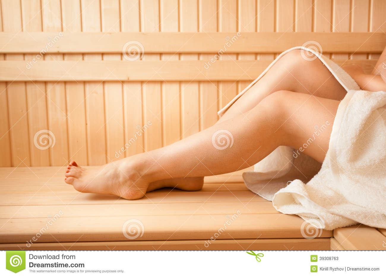 Photo Of Women Feet On Bench At Sauna
