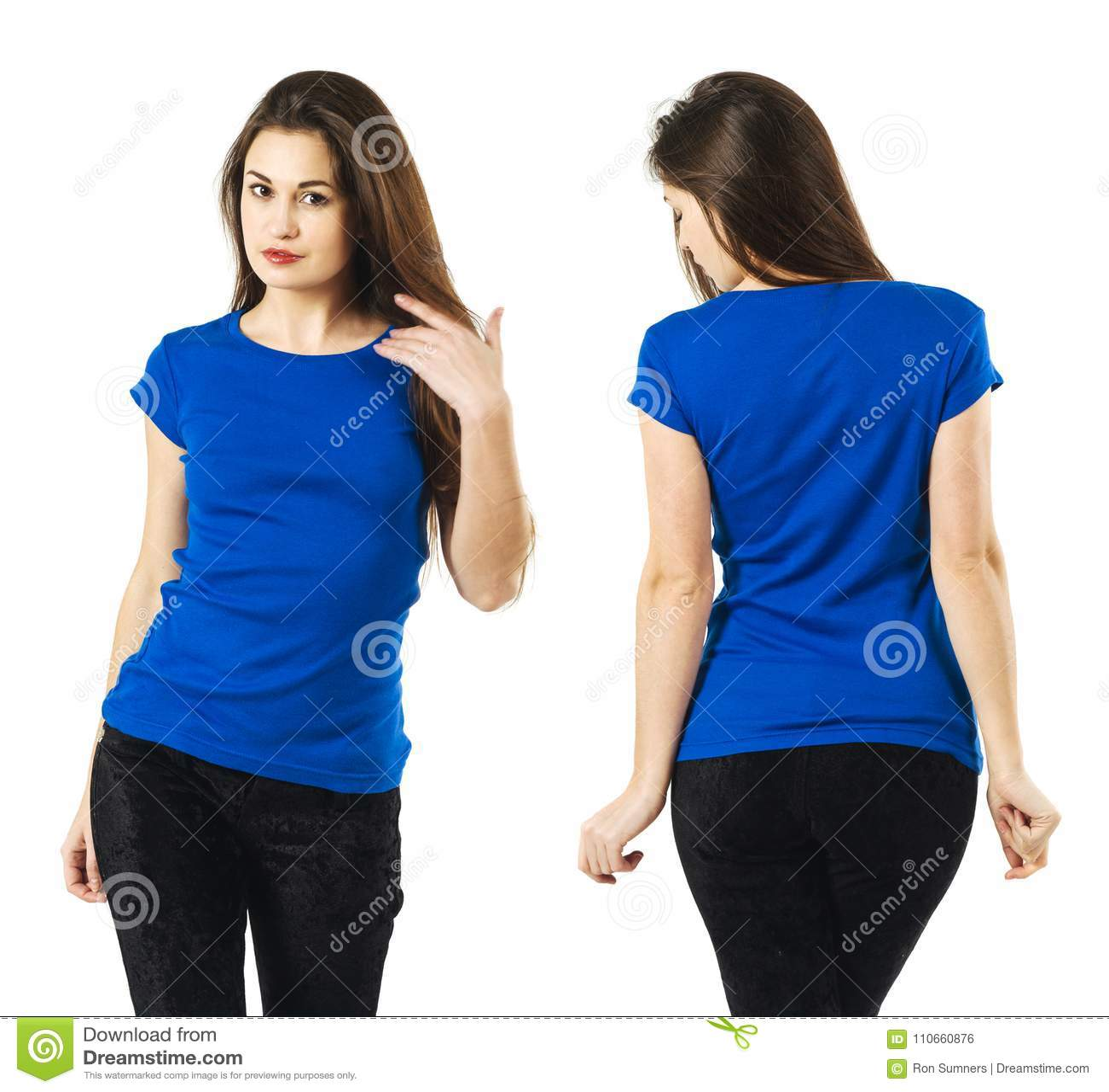 lady wearing blank blue shirt