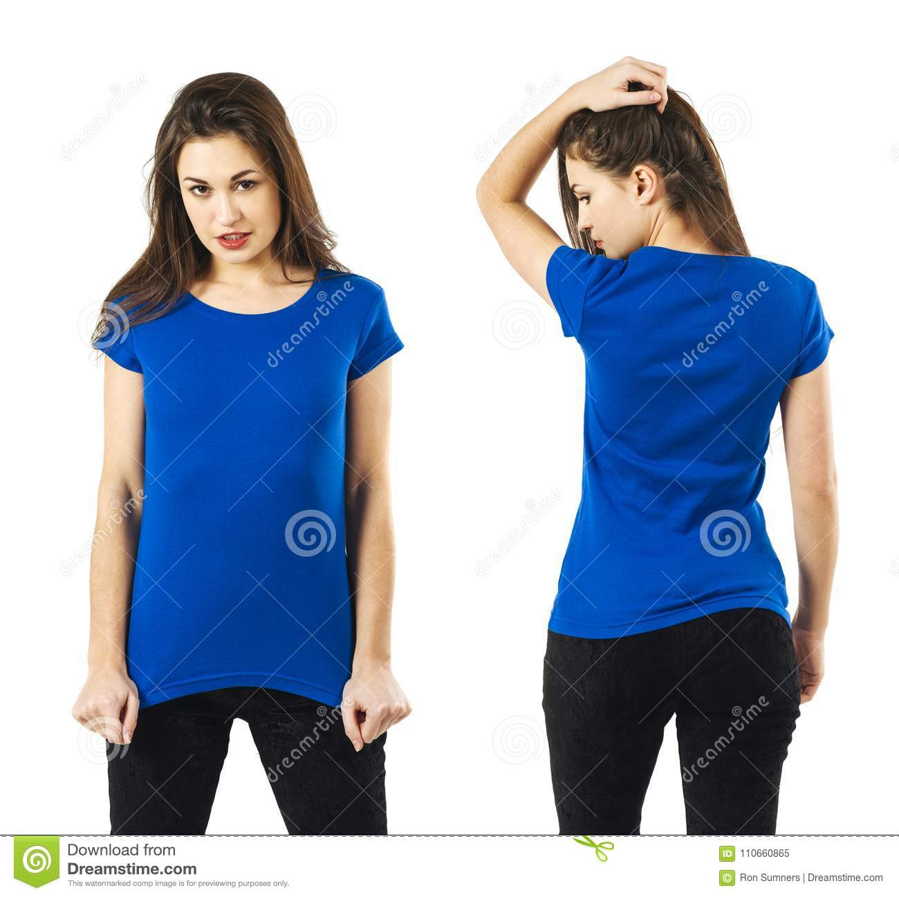 lady posing with blank blue shirt