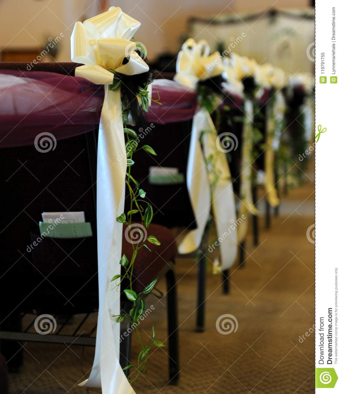 Decorated Church Pews Before Ceremony Stock Image - Image of ...
