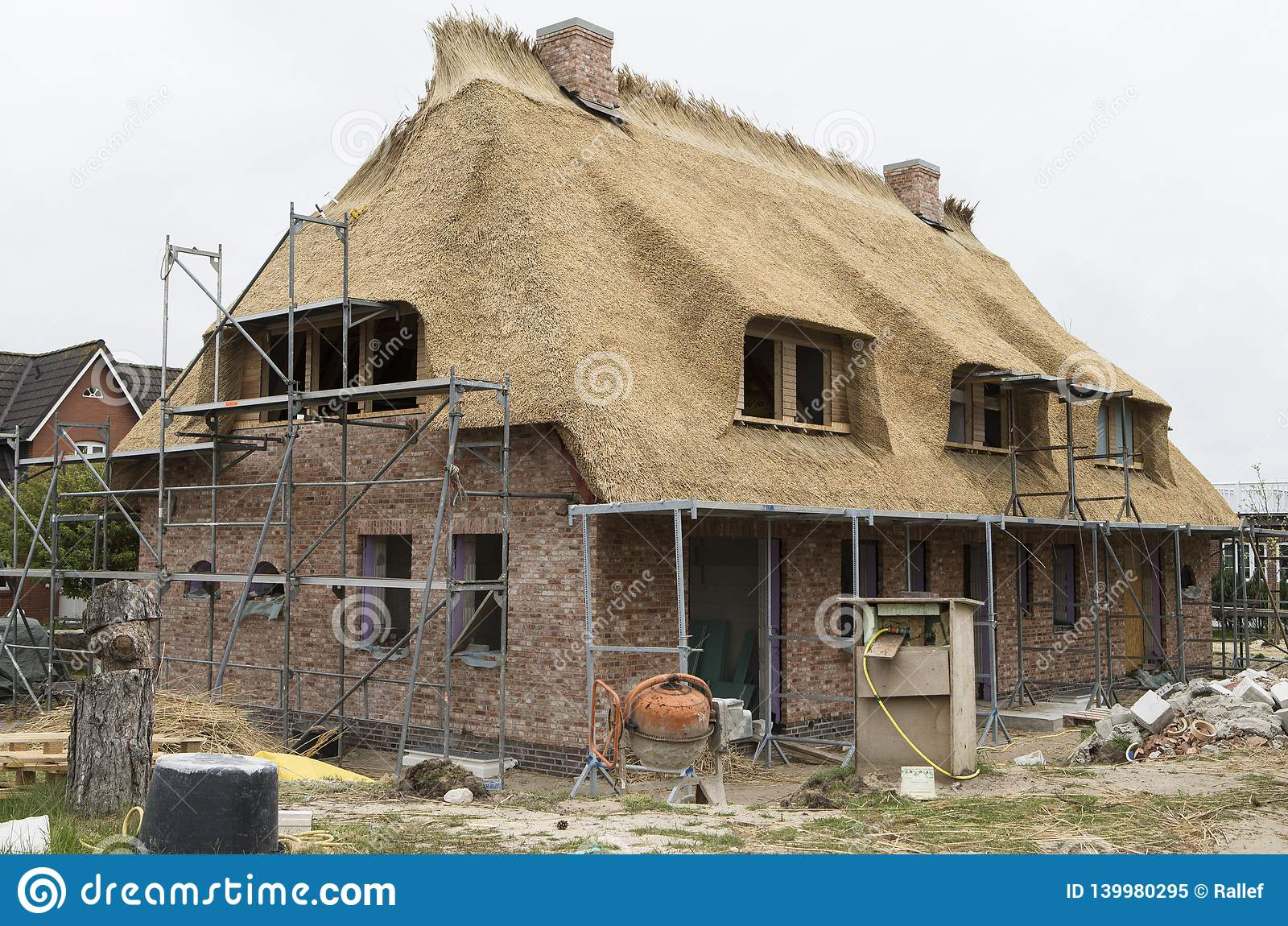 House with rooftop in shell construction