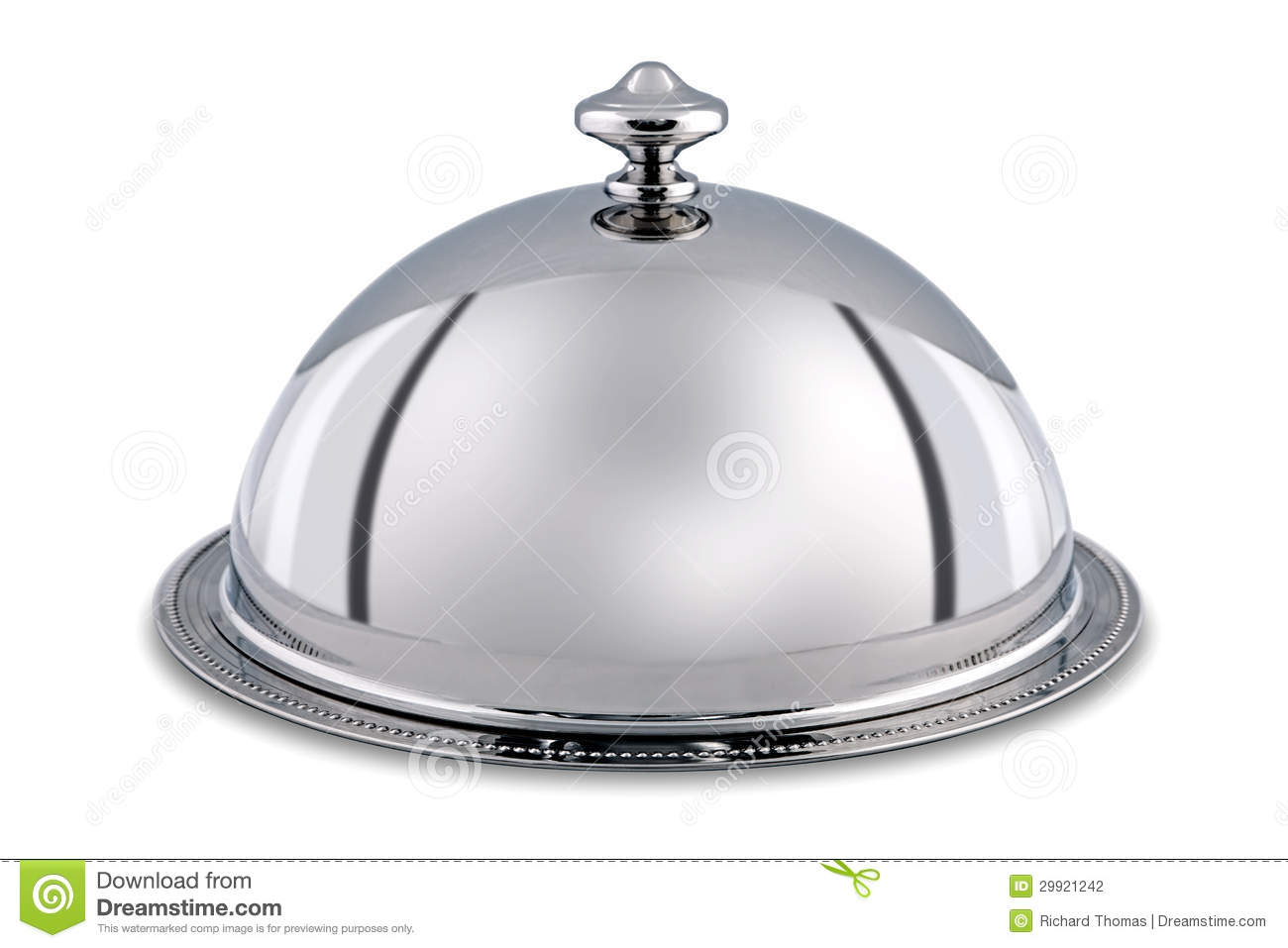 Room Arrangement Silver Dome Or Cloche Isolated With Clipping Path Stock