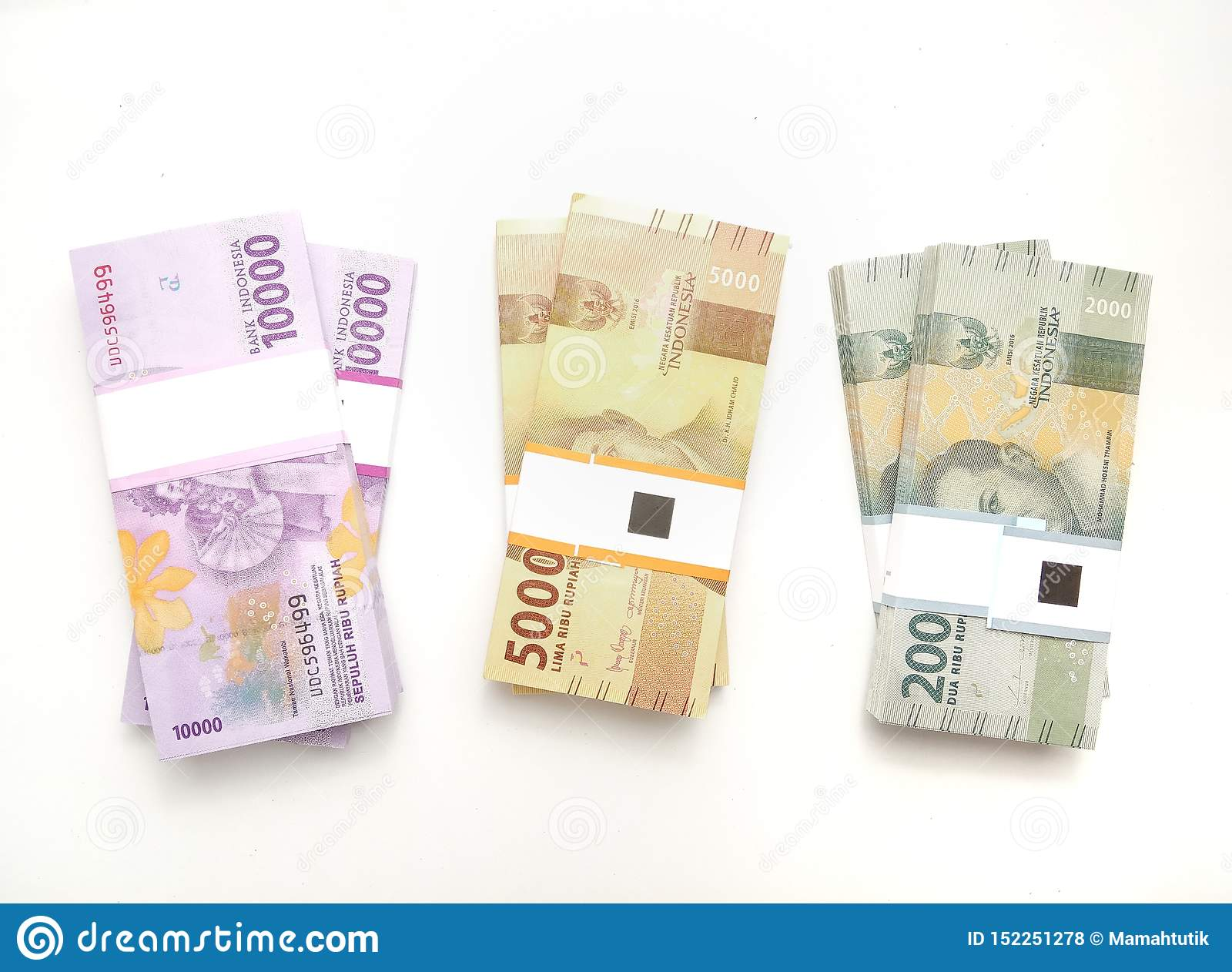 Flat Lay, Photo Simple Photo, Top View, Packs of Rupiah Indonesia Money, 2000, 5000, 10000, at white background