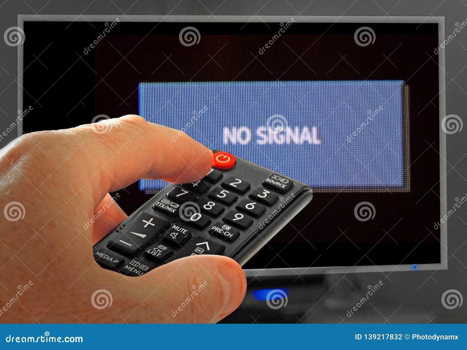 No Signal Sign Program Tv Channel Television Remote Stock