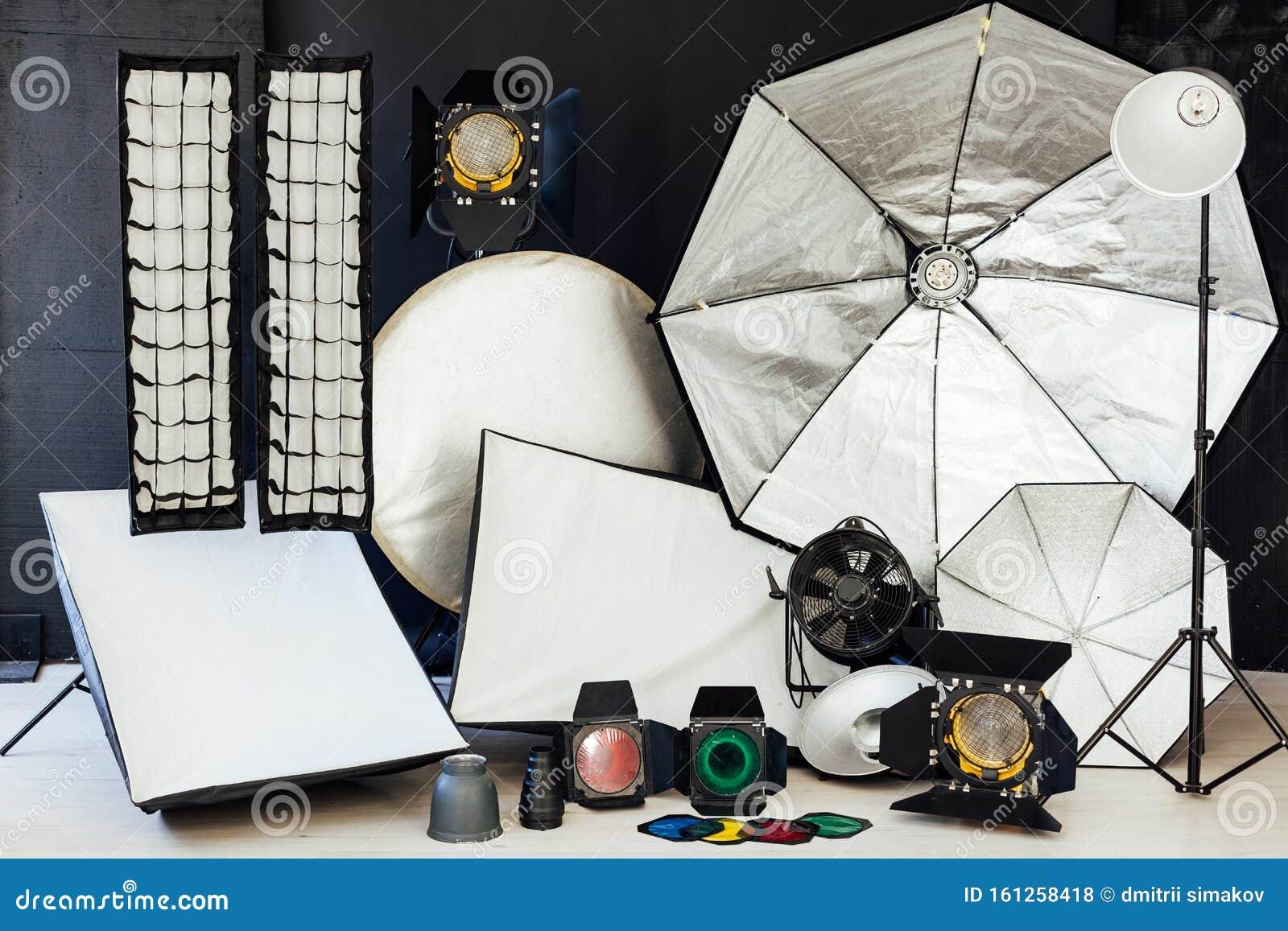 Photo Studio Accessories Photographer S Interior White Background Stock Photo Image Of Diffuser Business 161258418