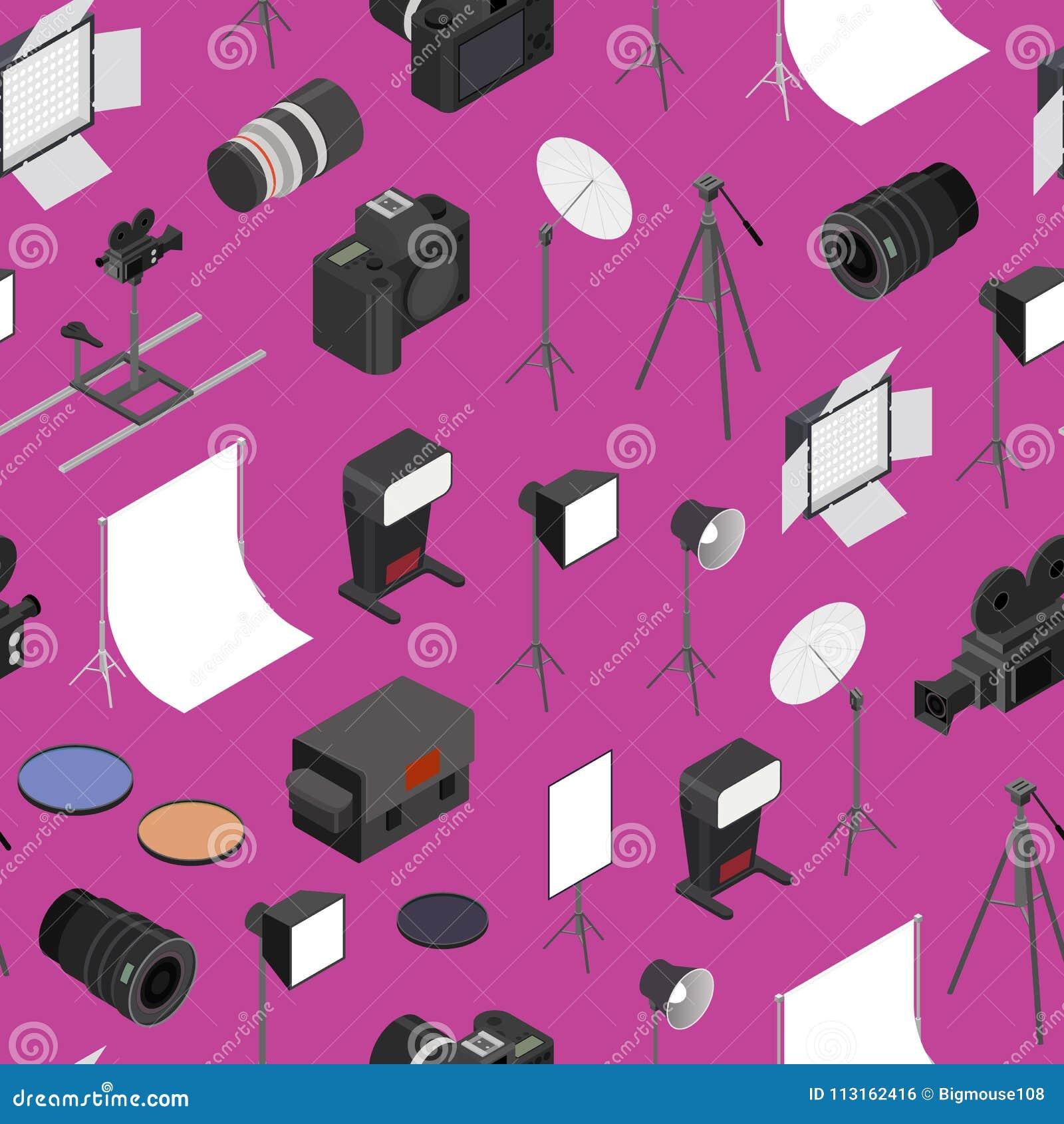 Photo Studio Equipment Seamless Pattern Background Isometric