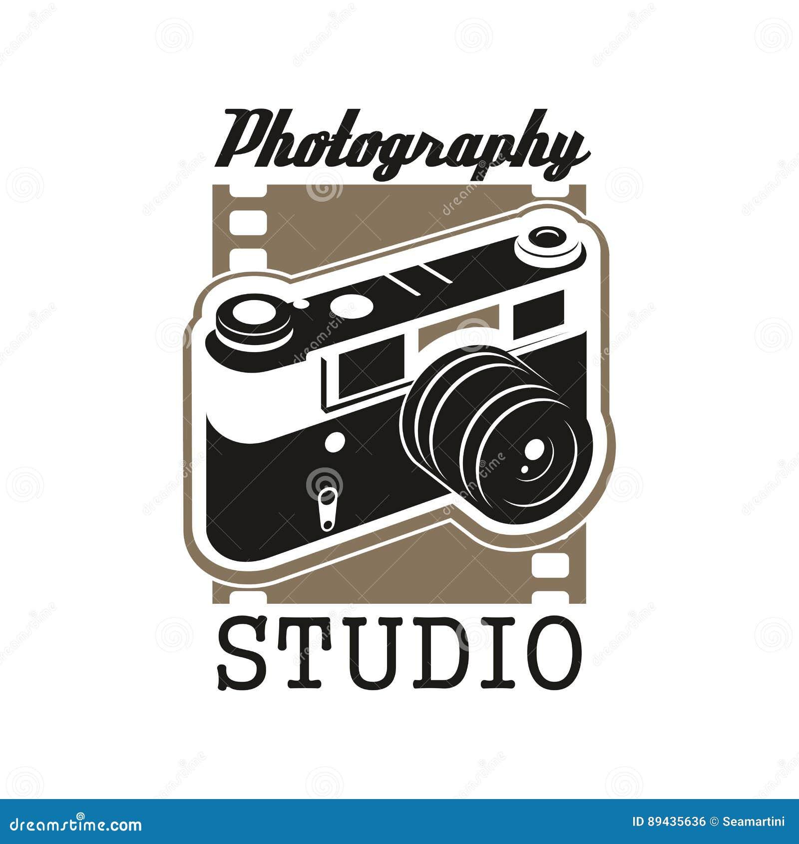 Photo Studio Icon With Isolated Retro Camera Stock Vector Illustration Of Camera Frame 89435636