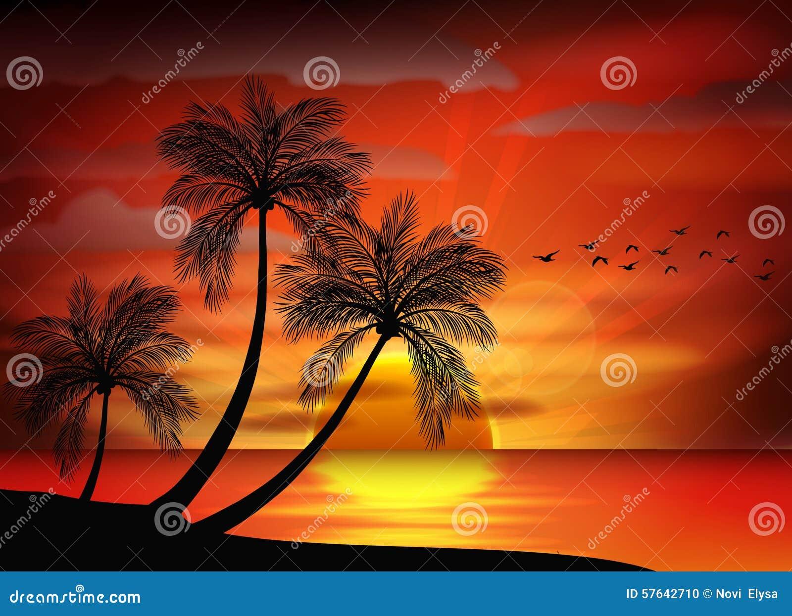 Photo of sunset on sea stock vector image 57642710 for Sfondi desktop tramonti mare