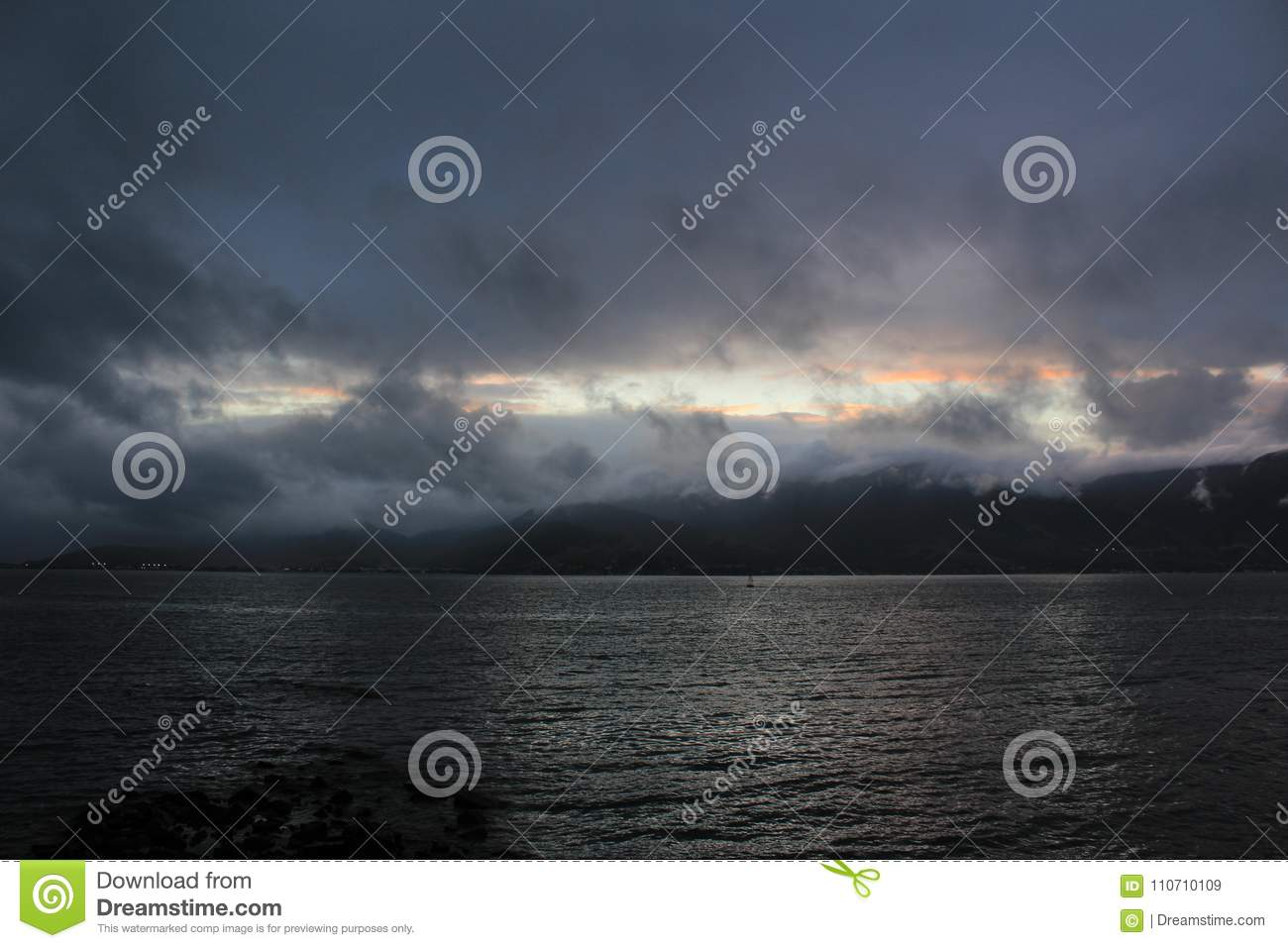 Photo of sunset in the sea.