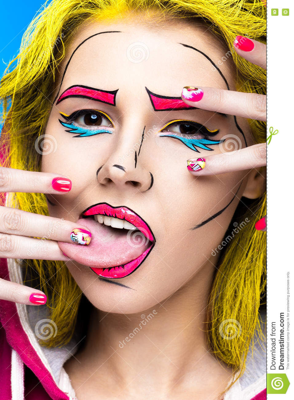 Photo of surprised young woman with professional comic pop art make-up and design manicure. Creative beauty style.