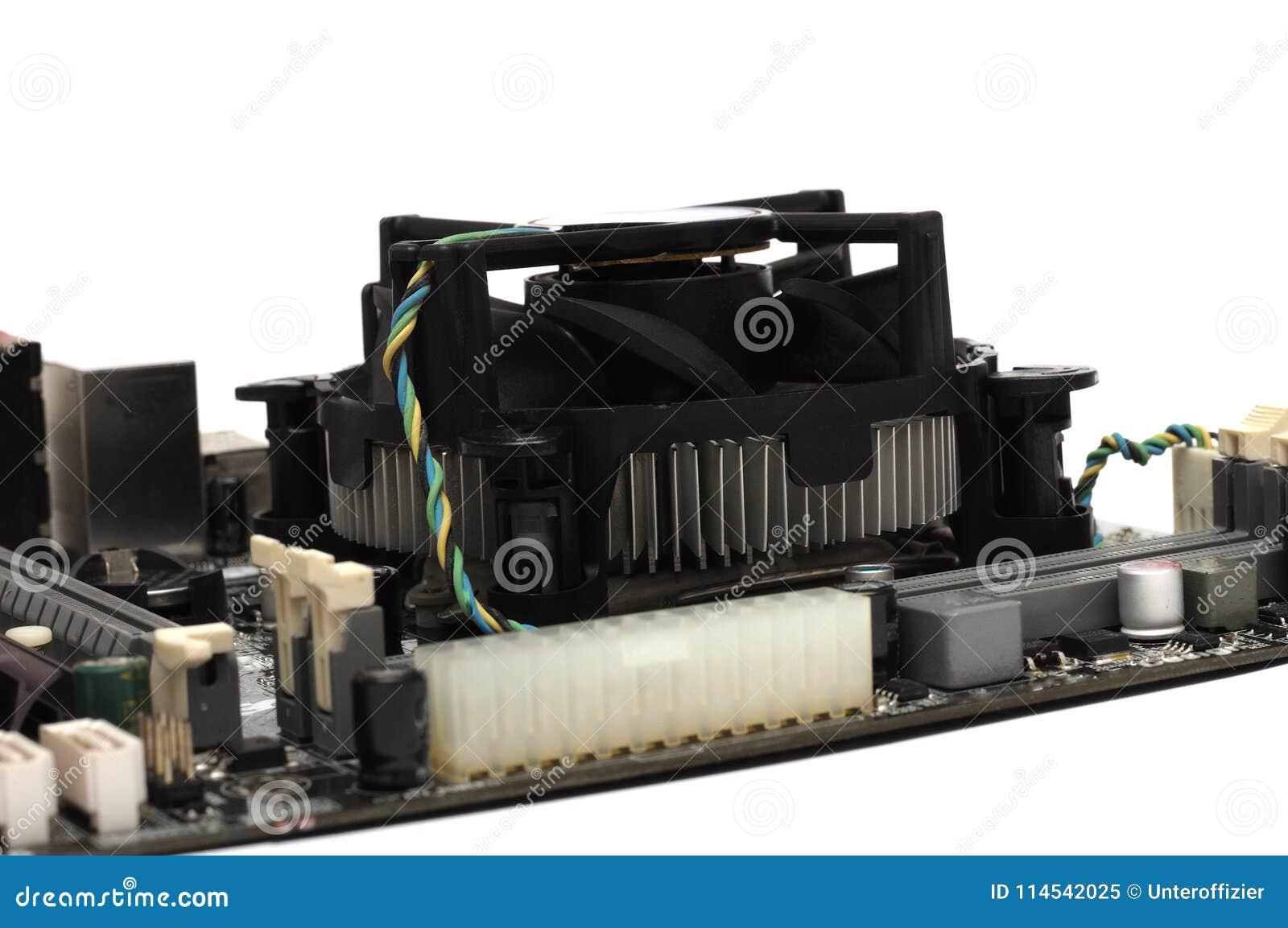a computer motherboard processor heatsink fan stock image image of