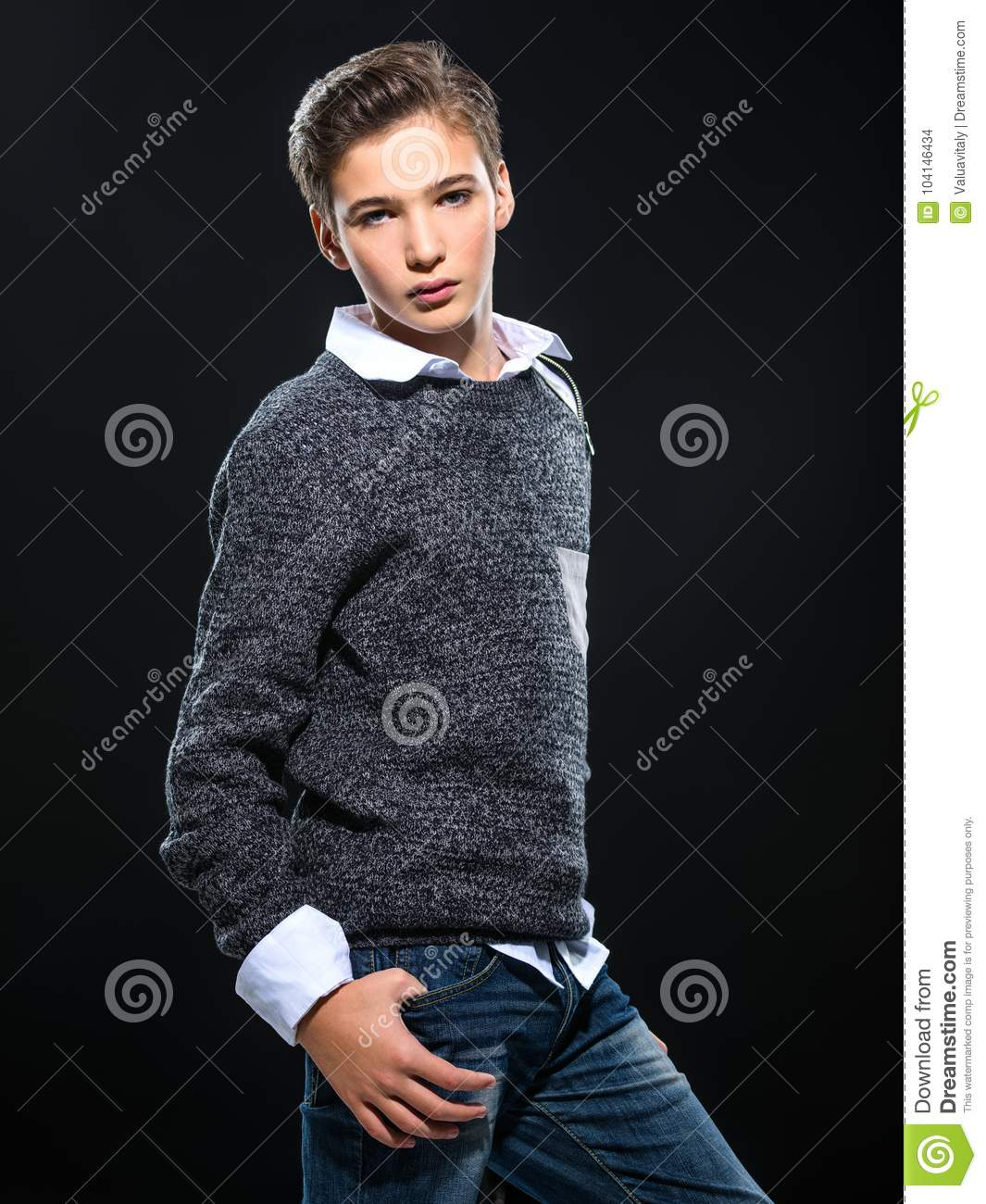 Photo Of Teenage Handsome Guy Posing At Studio Stock Photo - Image of  modern, handsome: 104146434