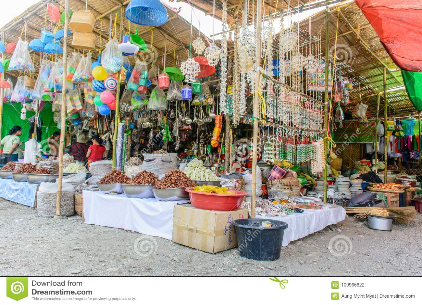 Photo Of Temporary Shops At `Shwe Set Taw` Pagoda Festival