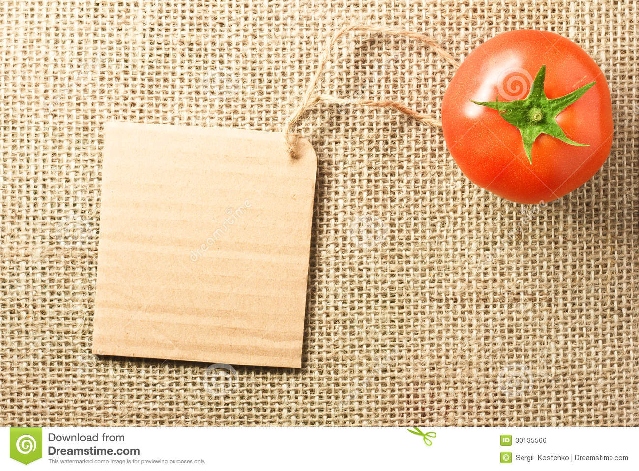 I tag background image - Tomato Vegetable And Price Tag On Sacking Background Texture Royalty Free Stock Image