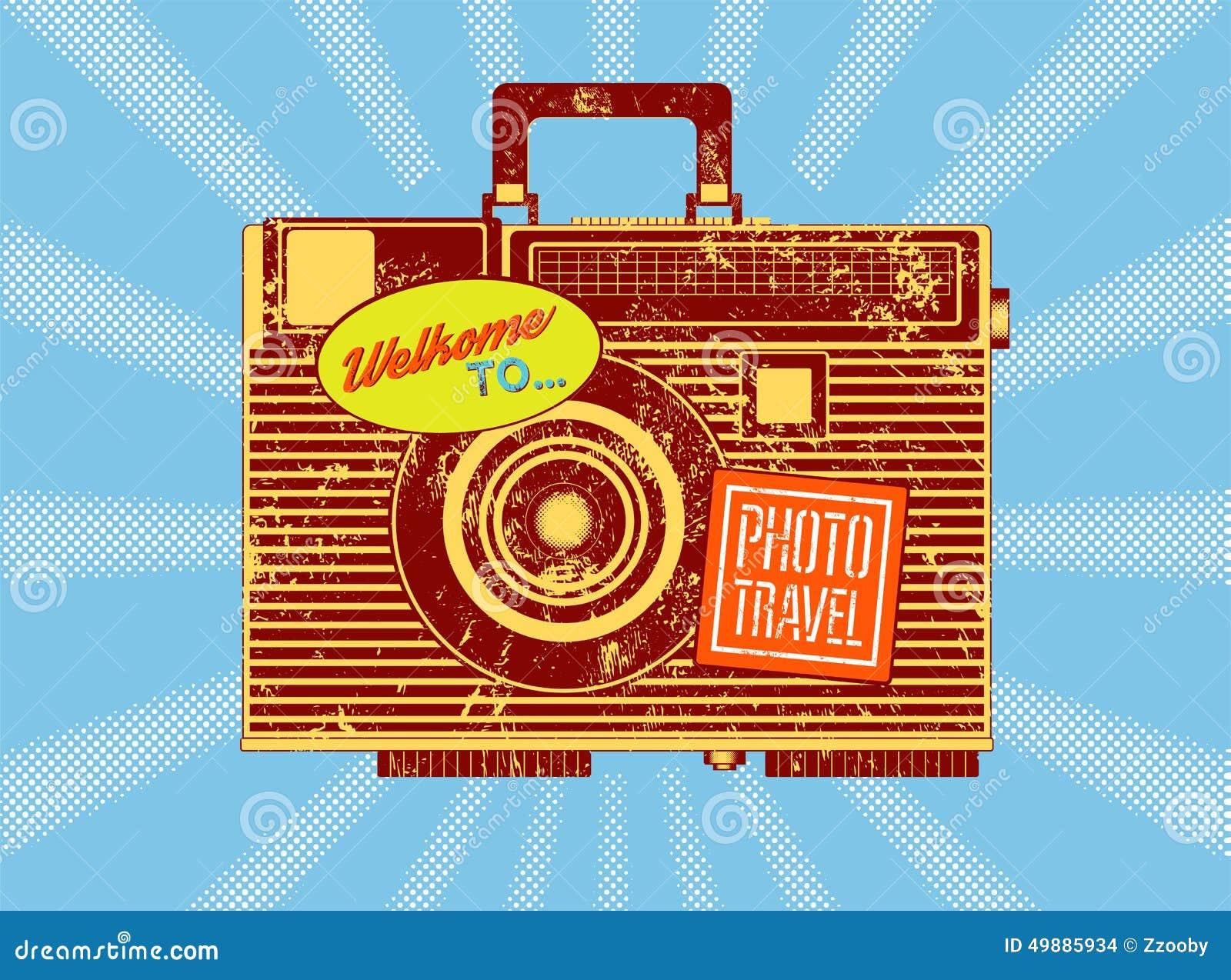 Grunge Camera Vector : Photo travel. vintage camera suitcase. retro grunge style poster