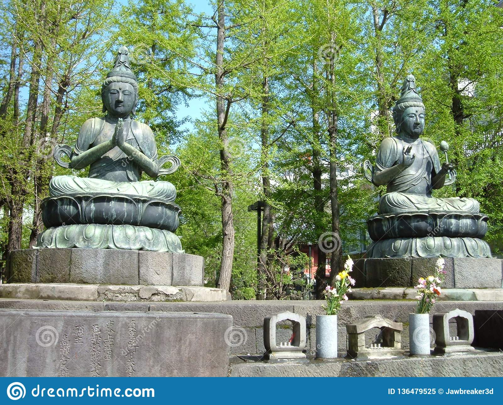 Japanese Zen Buddhism Shrine Buddha Statues Stock Image Image Of Garden Twin 136479525