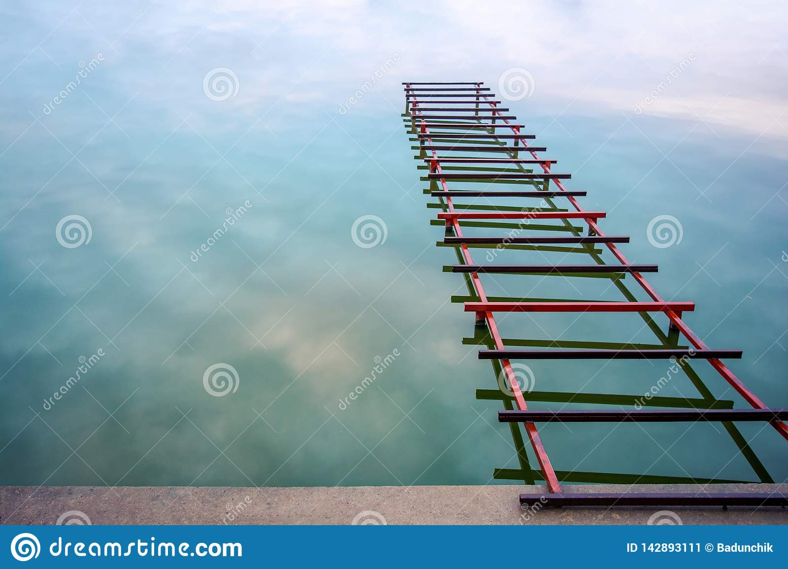 Photo Of Unfinished Little Bridge On The Lake, Abstract ...