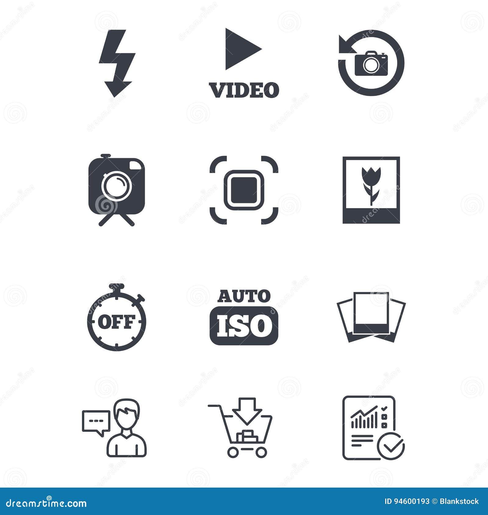 Photo, Video Icons. Camera, Photos And Frame. Stock Vector ...