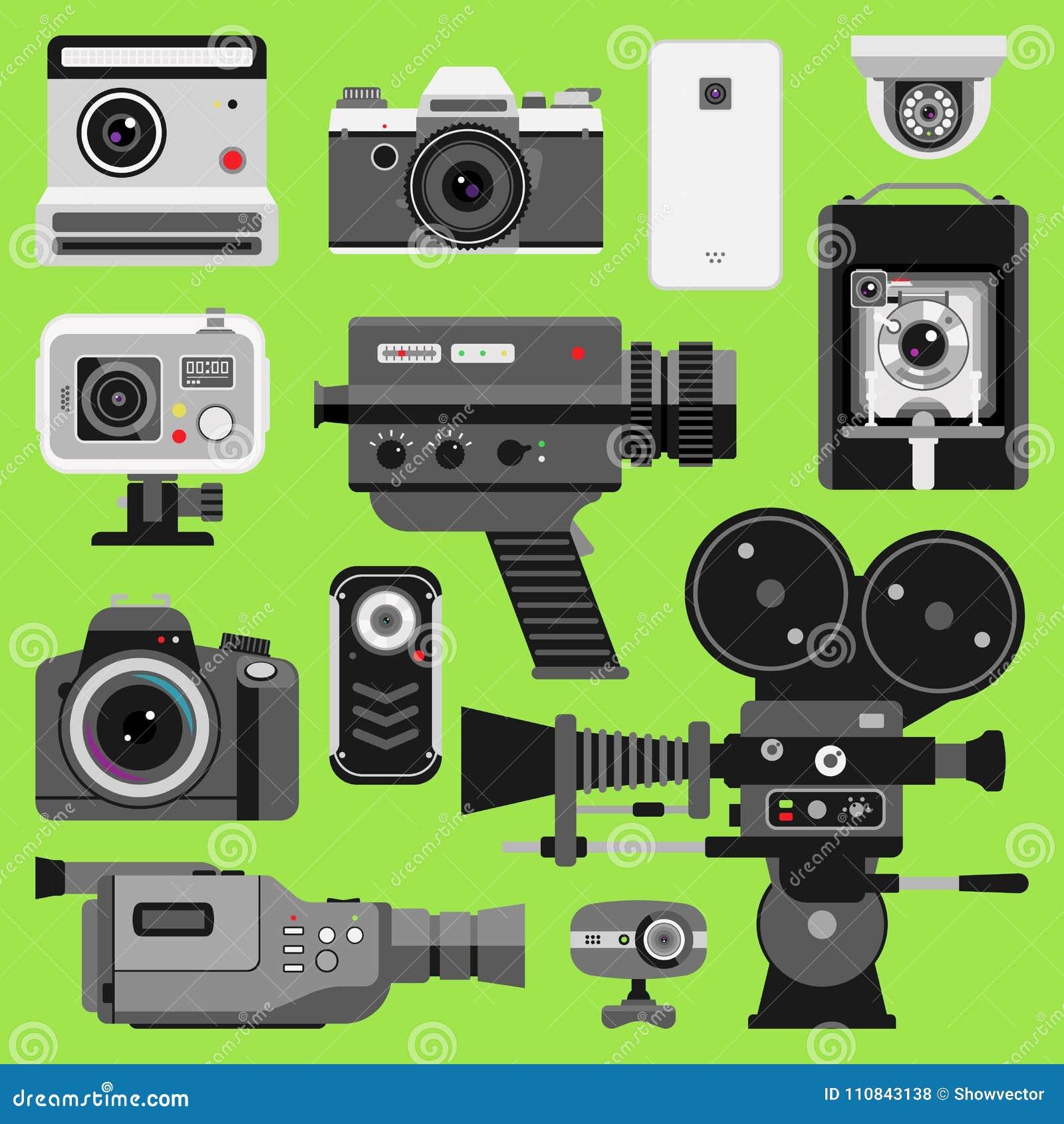 Photo Video Vector Camera Tools Optic Lenses Set Different Types Of Digital Cameras Objective Retro Equipment Professional Movie Film Making Technic